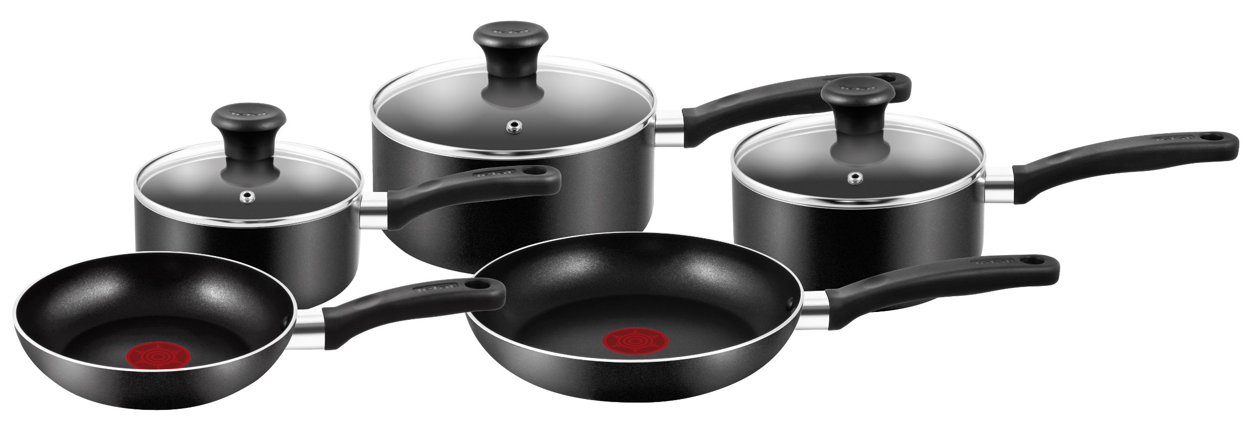tefal 5 piece essential cookware set black. Black Bedroom Furniture Sets. Home Design Ideas