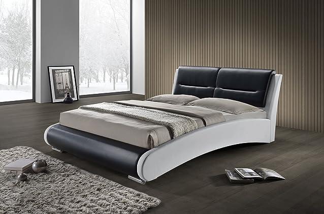 Letto matrimoniale nero e bianco 140x 190Qualità Premium–Stile Moderno e Original–Testa di letto, piedi in metallo e rete integrato–Florida