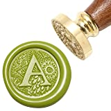 Letter A Wax Seal Stamp, Yoption Brass Head Botanical Alphabet Initial Sealing Stamp with Wooden Handle (Color: A)