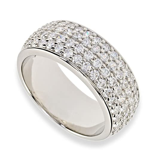 Women's Band Ring In Sterling Silver Rhodium Plated Zirconia White C069