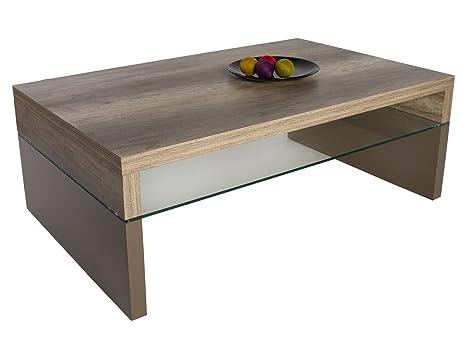 HL Design 01-12-172.2 Couchtisch Annika Wildeiche Truffel, Materialstärke 40 mm,Ablage 8 mm, Sicherheitsglas, Klarglas, 110 x 70 x 40 cm, lack hochglanz Taupe