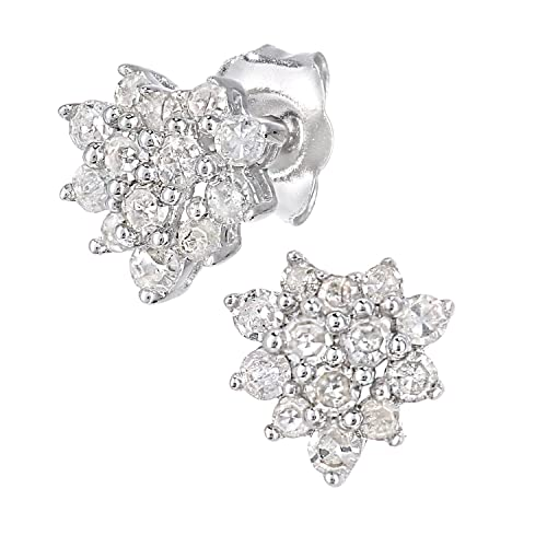 Naava 9ct White Gold 0.25ct Total Diamonds Cluster Earrings