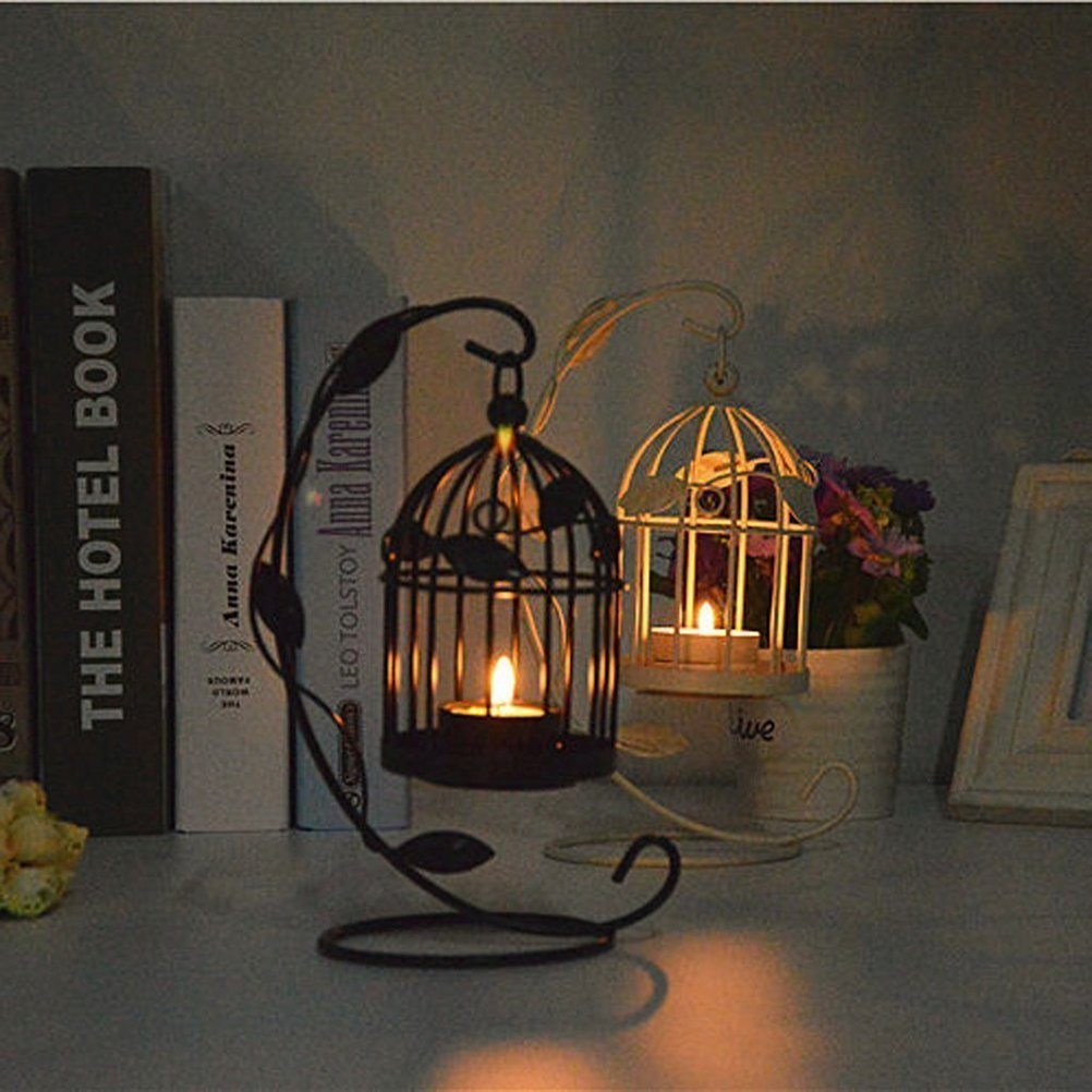 Tinksky Hanging Candle Holder Stand Candlestick Candle Cage Lantern (Black) 4