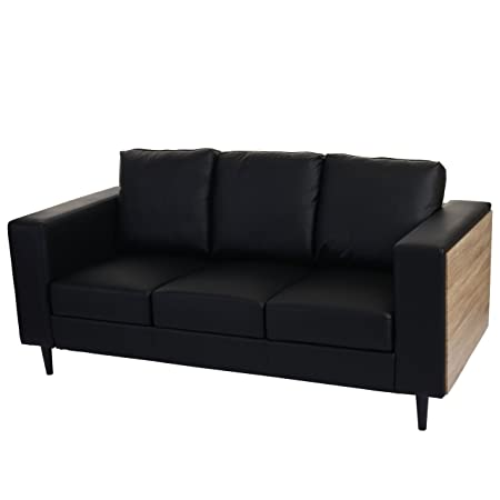 3er Sofa Nancy, Couch Loungesofa, Holz Eiche-Optik ~ Kunstleder, schwarz