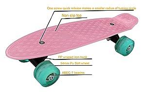CyBoard 17inchX5inch Completed Skateboard Mini Cruiser Board with High Bounce PU Wheel