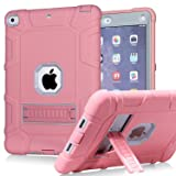 iPad 6th Generation Cases, iPad 2018 Case, iPad 9.7 Inch Case,Hybrid Shockproof Rugged Drop Protection Cover Built with Kickstand for New iPad 9.7 inch A1893/A1954/A1822,/A1823 (Color: 2-Rose)