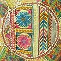 EYES OF INDIA - 55.9cm GELB-RUNDE OTTOMANE HOCKER BESTICKT BLUMEN PATCHWORK Ethnisch Indische Dekoration von Eyes of India bei Gartenmöbel von Du und Dein Garten