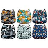Mama Koala One Size Baby Washable Reusable Pocket Cloth Diapers, 6 Pack with 6 One Size Microfiber Inserts (Movie Time) (Color: Movie Time, Tamaño: One Size)
