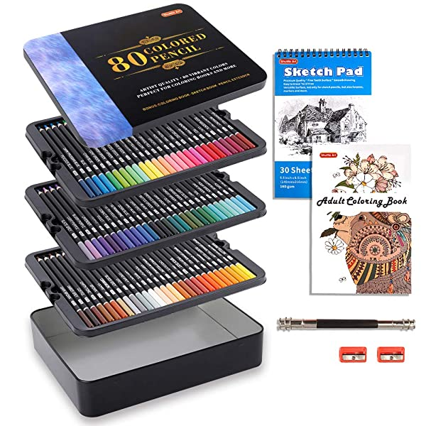 80 Colors Professional Colored Pencils, Shuttle Art Soft Core Pencil Set with 1 Coloring Book,1 Sketch Pad, 2 Sharpener, 1 Pencil Extender, Perfect Set for Artists Adult Beginners (Color: 80 Colors Pencil Set)