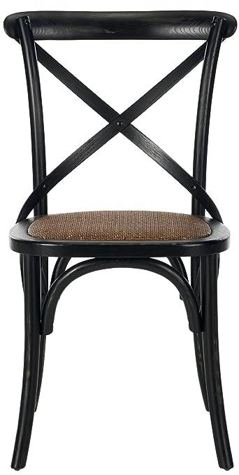 Safavieh EUH9500B-SET2 Riley Jeu de 2 Chaise d'Appoint X-Arrière Rotin Noir 50 x 53 x 88,9 cm