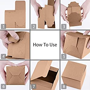 MESHA Recycled Gift Boxes 9x4.5x4.5 Inch Brown Paper Boxes 100PCS Kraft Favor Boxes for Party, Wedding, Gift (Color: Natural)