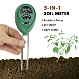 Soil pH Meter Besiva 3 in 1 Soil Test Kit for Light pH Moisture Plant Tester for Home and Garden Lawn Farm Indoor Outdoor No Battery Needed (Green)