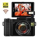 Digital Camera with WiFi 24.0 MP Vlogging Camera 2.7K Ultra HD 3.0 Inch Camera with Flip Screen Retractable Flashlight (Color: G03)