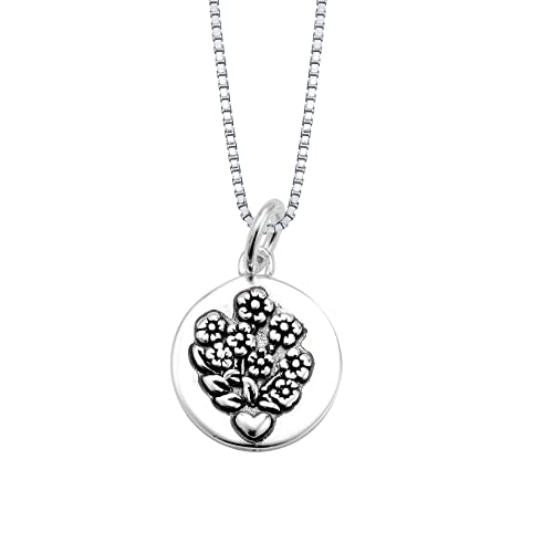 Sterling Silver All Things Grow with A Mother's Love Reversible Pendant Necklace with Flowers, 18 – $26.10