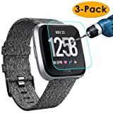 KIMILAR [3-Pack] Compatible Screen Protector Fitbit Versa, Waterproof Tempered Glass Screen Protector [9H Hardness] [Crystal Clear] [Scratch Resist] [No-Bubble] (Color: 3Pcs for Fitbit Versa)