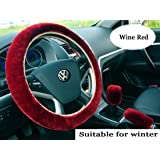 3pcs Plush Car Steering Wheel Covers Winter Faux Wool Hand Brake & Gear Cover Set Car Seat Cover Interior Accessories-38cm (wine red)