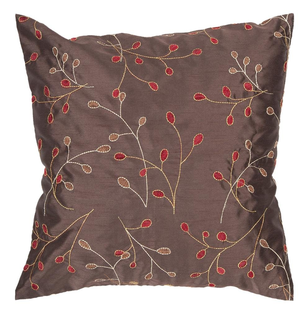 Surya HH-094 Hand Crafted 100% Polyester Chocolate 18 x 18 Floral Decorative Pillow