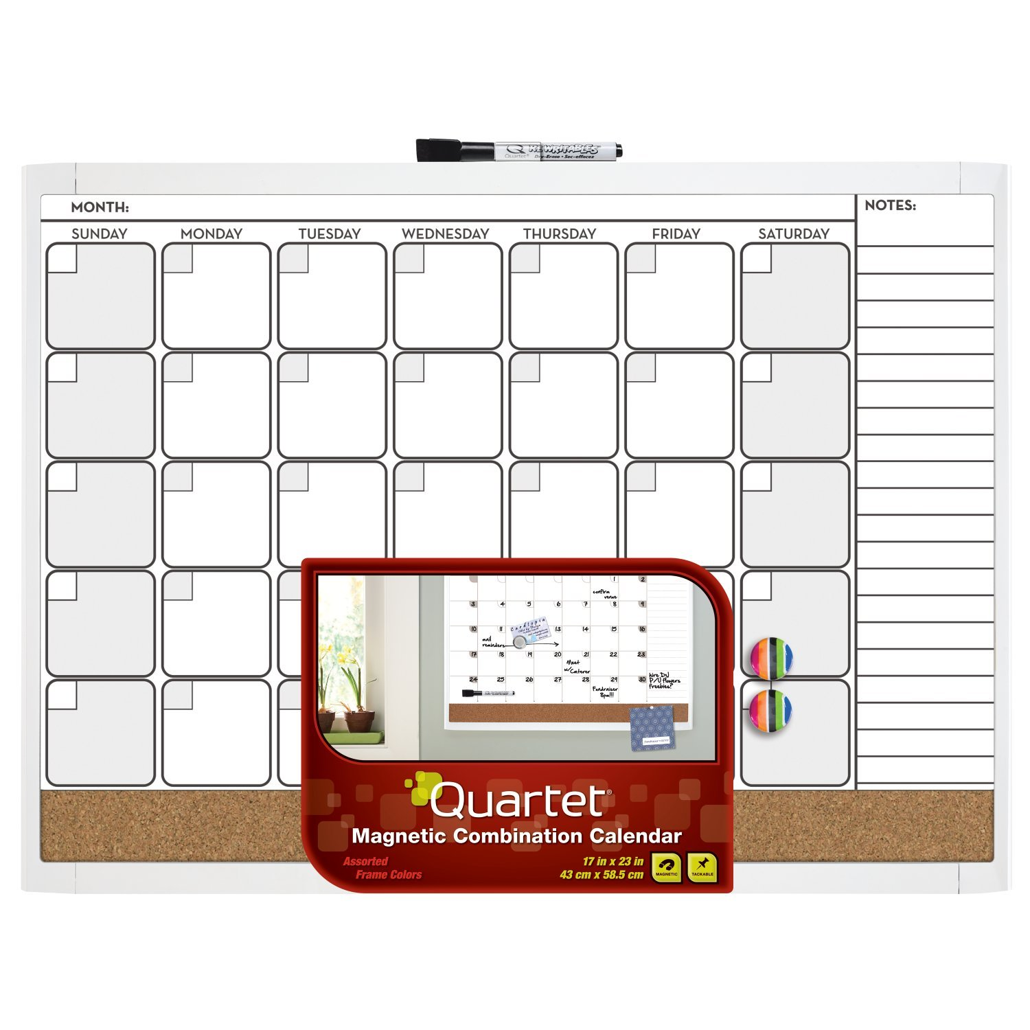 Dry Erase Calendar Magnetic : Quartet magnetic combo calendar board inches dry