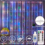 Curtain Lights, 8 Modes Fairy Lights String with Remote Controller, IP64 Waterproof, USB Plug in Twinkle Lights for Weddings, Parties, Backdrop, Wall Decorations, 300 Led( 9.8x9.8Ft, Multicolor) (Color: Multi, Tamaño: 300 LEDs,9.8x9.8Ft)