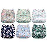 Mama Koala One Size Baby Washable Reusable Pocket Cloth Diapers, 6 Pack with 6 One Size Microfiber Inserts (Unicorn Dreams) (Color: Unicorn Dreams, Tamaño: One Size)