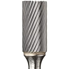 PFERD Cylindrical Carbide Bur, Long-Length, Uncoated (Bright) Finish, Single Cut, End Cut End
