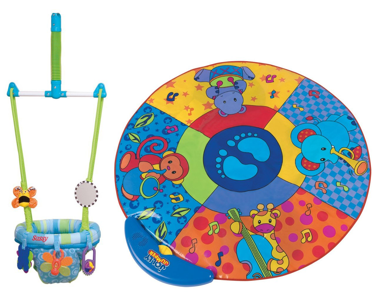 Sassy Seat Doorway Jumper, 5 Toys with Musical Play Mat погремушка вертушка на присоске sassy