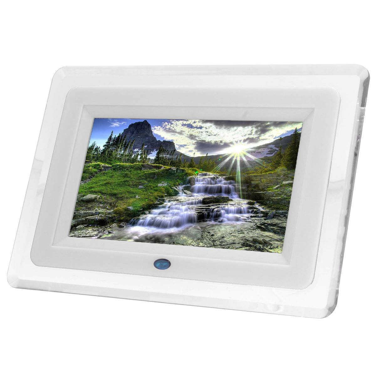INSMA 7 Inch TFT-LCD Remote Control Digital Photo Frame MP3 Player Alarm With LED Light 7 Color White