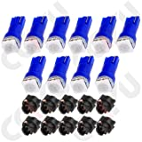 CCIYU 20 x Blue LED & Sockets Instrument Dashboard Speedo Light Bulbs T5 57 37 73 257 (Color: Blue)