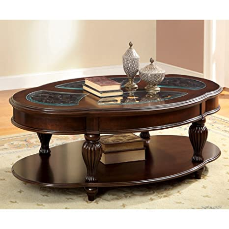 Furniture of America Baxter Beveled Tempered Glass Oriental Coffee Table - Dark Cherry