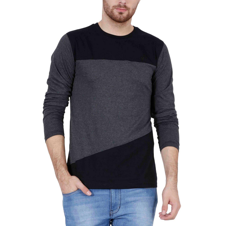 Fashion Freak Full Sleeve T Shirt For Men Stylish Striped Sleeves ...
