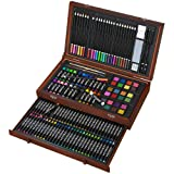 143 Piece Deluxe Art Set, Art Supplies in Portable Wooden Case-Painting & Drawing Kit with Crayons, Oil Pastels, Colored Pencils, Watercolor Cakes, Sharpener, Sandpaper- Deluxe Art Set (143 Piece) (Color: 143 piece)