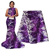 pqdaysun African Lace Fabric 5 yards 2018 Nigerian Lace French Lace Fabric Embroidered and Rhinestones Guipure Cord Lace (Color: Purple and White, Tamaño: 51 Inches)