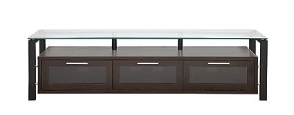PLATEAU DECOR 71 EB Wood and Glass TV Stand, 71-Inch, Espresso Finish