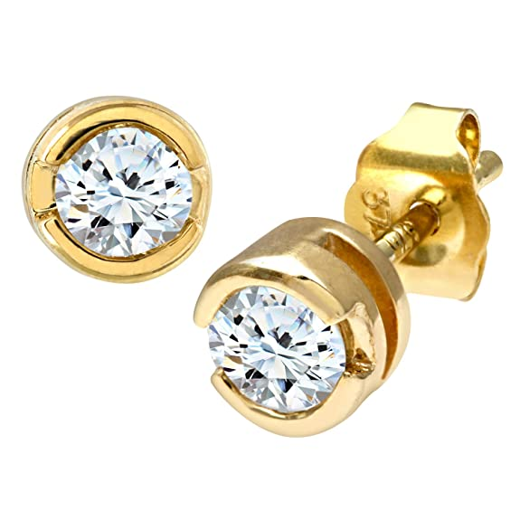 Naava 9ct Rub Set Third Carat Diamond Earrings
