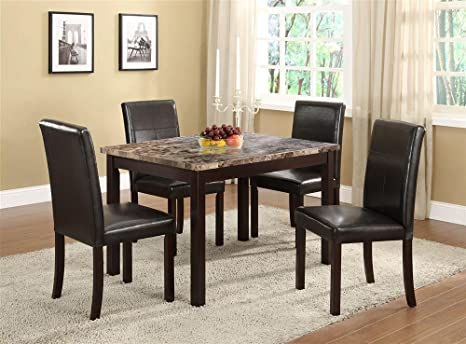 Vifah D108 Faux Marble Dining Table Set, 48 by 36-Inch, Brown