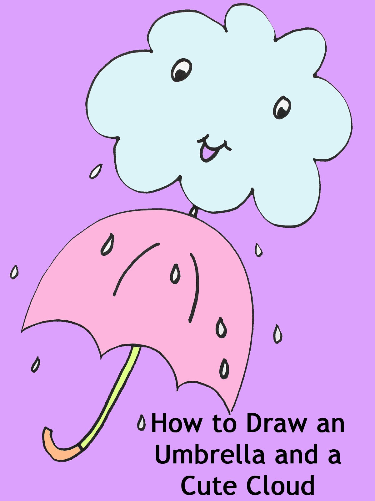 How to Draw an Umbrella and a Cute Cloud
