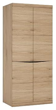Furniture To Go Kensington Tall Wide 2-Door Cupboard with Grained Melamine, 86 x 197 x 58 cm, Medium Oak