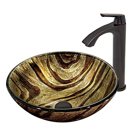 VIGO Zebra Glass Vessel Bathroom Sink and Linus Vessel Faucet with Pop Up, Antique Rubbed Bronze