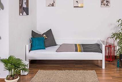 Massivholzbett / Gästebett Benedikt Buche Vollholz massiv weiß lackiert, inkl. Rollrost - 90 x 200 cm