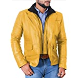 Laverapelle Men's Yellow Genuine Lambskin Leather Jacket - 1501641 - Extra Large (Color: 16c- Yellow - With Color Cotton Lining, Tamaño: X-Large)