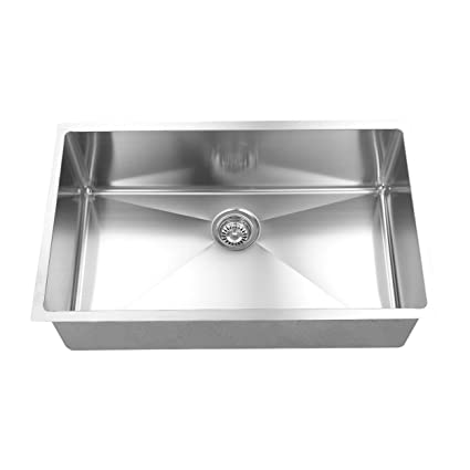 BOANN UMR3219 Hand Made R15 Single Bowl 32 x 19-Inch Undermount 304 Stainless Steel Kitchen Sink, 16-Gauge with GRID