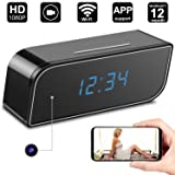 Hidden Camera Clock,Digihero Spy Camera in Clock WiFi alarm Cameras,1080P Video Loop Recorder Clock Spy Wifi Camera for Home And Office Security Monitoring Nanny Cam 150  Angle Motion Detection (Color: clock camera A)