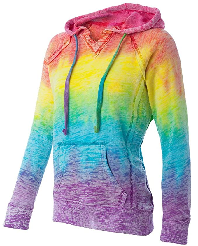 Koloa Surf Co.(tm) Womens Rainbow Stripe V-Neck Burnout Hoodies - Medium