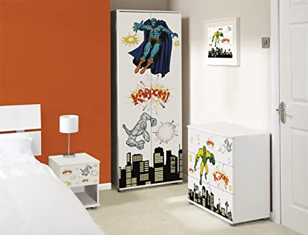 Super Heroes Design Childrens/Kids White Bedroom Furniture Set