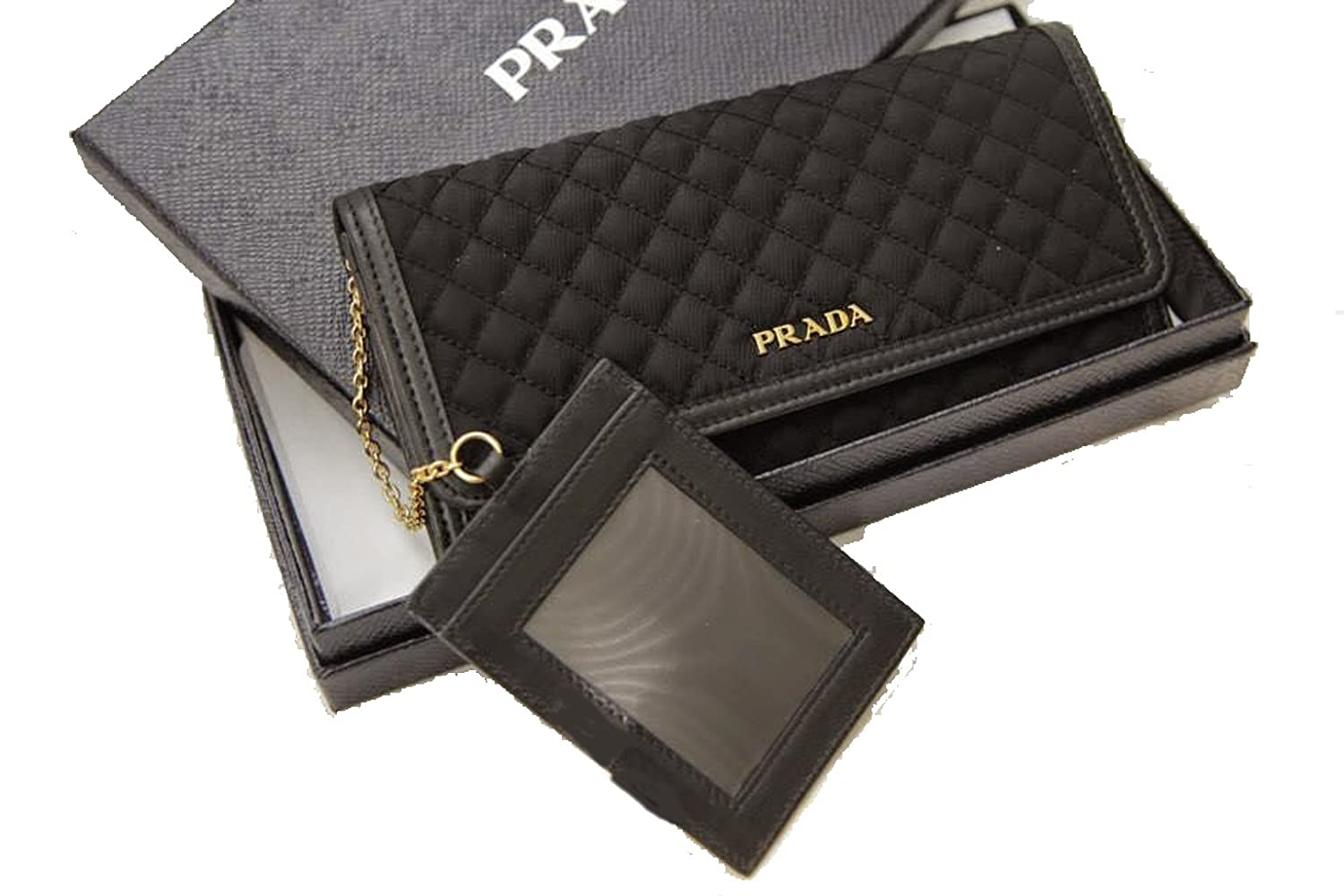 Prada Tessuto Nylon \u0026amp; Soft Calf Leather Crossbody Shoulder Wallet ...