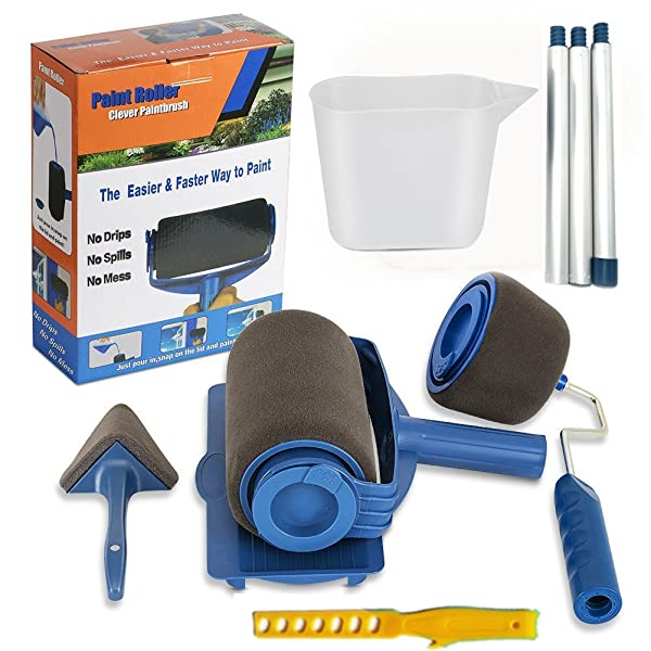 9Pcs/set Paint Roller Set with Sticks Paint Roller Pro Transform Your Room in Just Minutes Quickly Decorate Runner Tool Painting Brush Set (Color: paint roller)