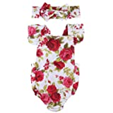 Newborn Kids Baby Girls Clothes Floral Jumpsuit Romper Playsuit + Headband Outfits (12-18 Months, Baby Girl Dress) (Color: Rose Red, Tamaño: 12-18 Months)