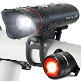 Cycle Torch Superbright Bike Light USB Rechargeable LED - Free Taillight Included Shark 500 Set - 500 Lumens - Fits All Bikes, Hybrid, Road, MTB, Easy Install & Quick Release (Color: Black)