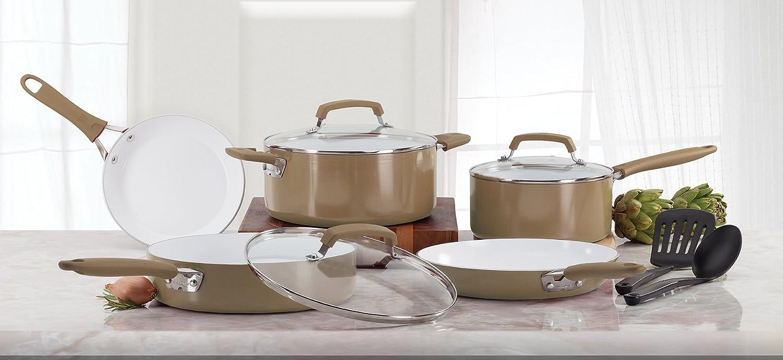 WearEver Pure Living Nonstick Ceramic Coating PTFE-PFOA-Cadmium Free Dishwasher Safe Cookware Set