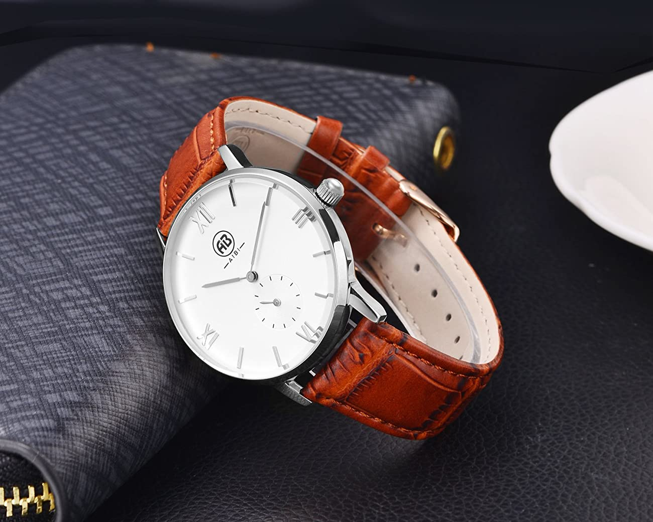 AIBI Men`s Silver Tone White Large Face Quartz Analog Brown Leather Watch with Small Second Dial 4